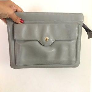 Vintage GRAY Leather ANNE KLEIN Zippered Clutch